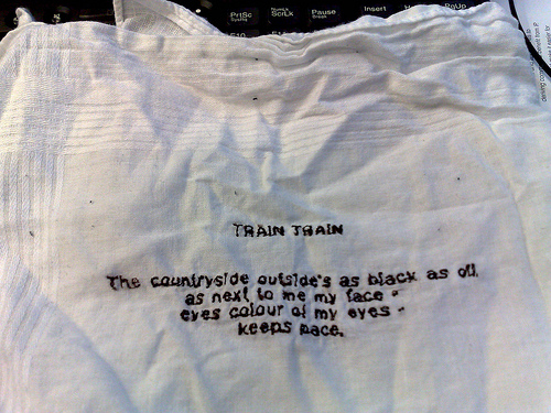 Text messages poem on hankie